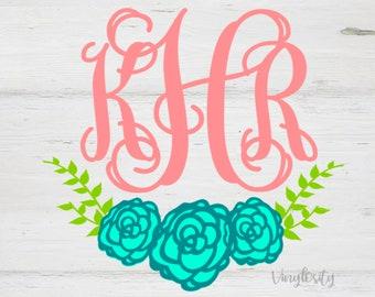 Monogram Decal | Floral Monogram | Floral Monogram Decal | Car Decal | Cup Decal | Vinyl Decal | Floral Stickers | Monogram Sticker