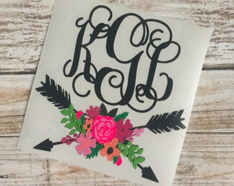 Floral Arrow Decal | Personalized Floral Decal | Floral Arrow | Monogram Decal | Cup Decal | Car Decal | Laptop Decal