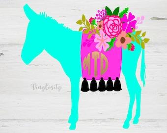 Burro Monogram Decal | Floral Donkey Monogram Decal | Donkey Decal | Cup Decal | Car Decal | Laptop Decal | Monogram Decal