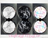 Faux Marble Rubber Car Coasters - Set of 2 Cup Coaster Car Accessories Rubber Coasters