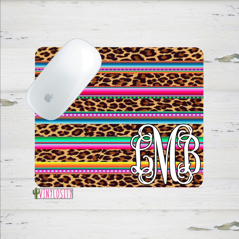 Custom Mouse Pad Office Supplies Desk Accessories Mouse Pad Leopard Print and Serape Mouse Pad Personalized Mouse Pad