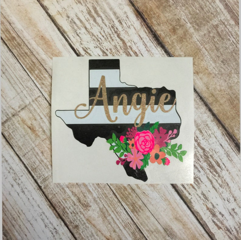 THE ORIGINAL Personalized Floral State Decal  Floral Decal  image 0