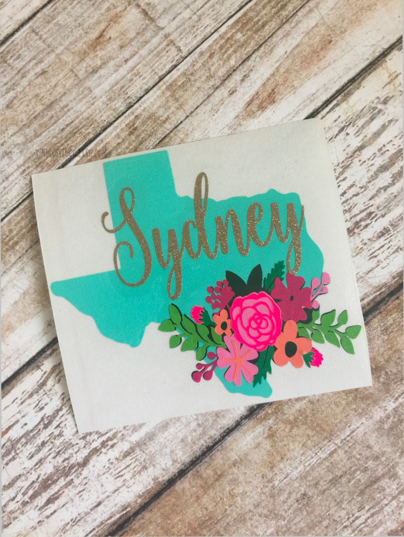 Personalized Floral Texas Decal  Texas Cup Decal  Texas Car image 1