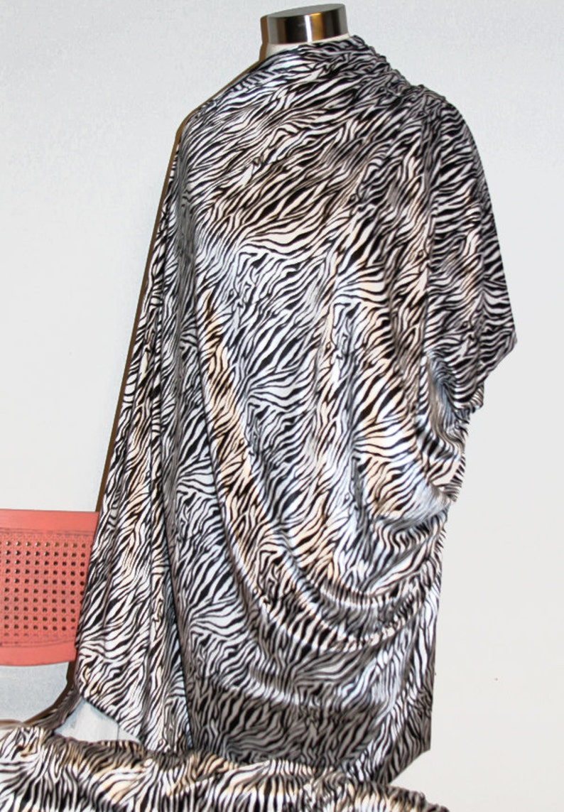 d4d3b74ed523c Sleek Velvet Zebra Black and White Polyester Spandex Lycra   Etsy