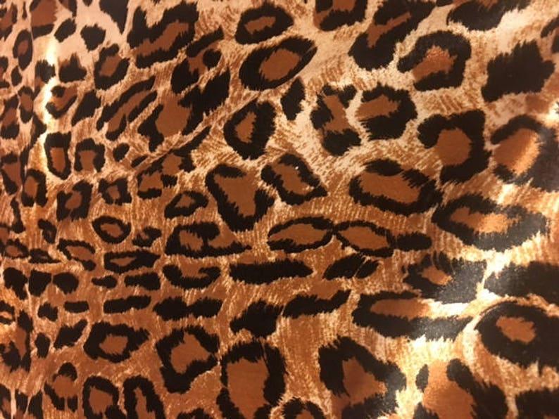 5620ed08cd67d Leopard Stretch Velvet Shiny Sleek Polyester Spandex Lycra   Etsy