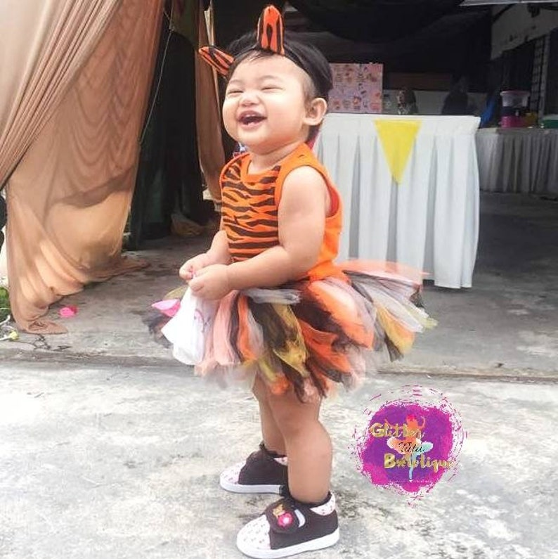 Tiger Onesies Orange Shirt Black Stripes Romper Animal T-Shirt Glitter Top for Girls and Boys Age 1-6 Years Old Baby Infant Toddler Kids
