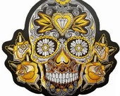 Gold Rose Flower Sugar Skull Embroidered Giant XL Back Patch Backpatch