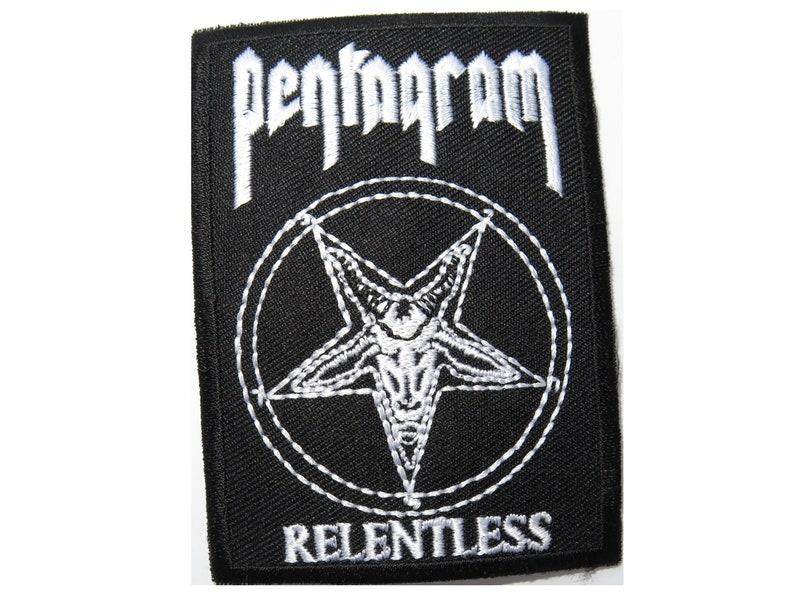 "Pentagram Relentless Heavy Doom Metal Embroidered Sew On Iron On Patch 3/"""