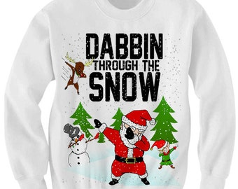 Dabbin Through The Snow Christmas Sweater Ugly Sweaters Ladies Tops Mens Fashion Christmas Party Outfit Funny Gift Ideas #Dab Plus Sizes