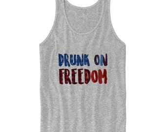 113f10ded6e7f7 July 4th Tank Top Drunk On Freedom Tank 4th Of July Tanks Red White and  Blue Shirt USA Ladies Tops Mens Tees Plus Sizes S M L XL  USA