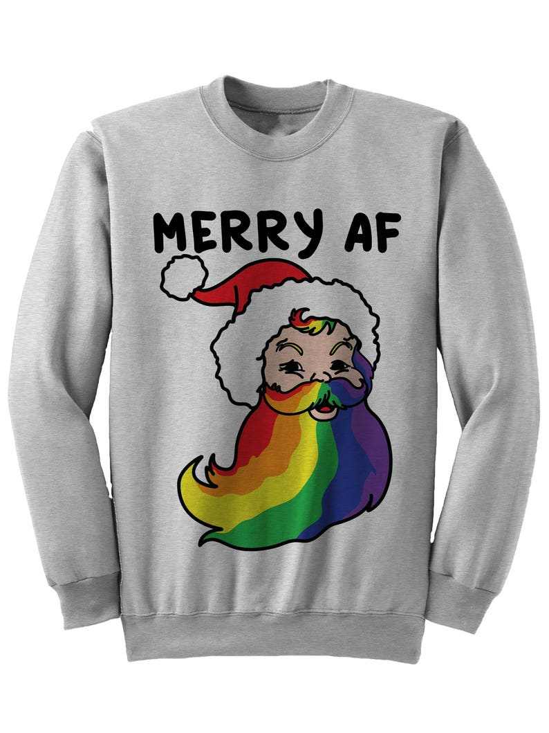 43db2afd85aa Gay Christmas Sweater Merry AF Christmas Sweater Ladies Tops