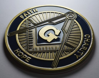 Auto Emblem Grand Lodge Officer Metal Enamel Masonic Freemason Mason