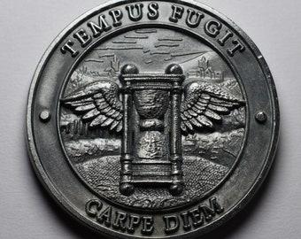 TEMPUS FUGIT Regalo para el Abuelo Llavero Tr/ébol de la Suerte con Mensaje Grabado de Acero Inoxidable Antial/érgico Brillante Inalterable