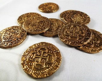 Superb Job Lot 10 Spanish Gold Doubloons - Coins/Pirates/Treasure/Spanish/Gift Replicas