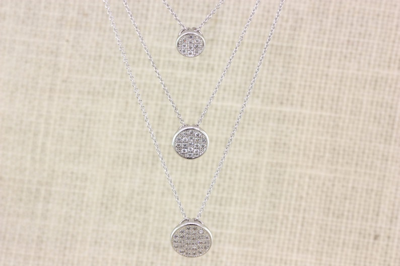 Multi Chain Necklace Long Circle Ball Necklace Multi Layer Sliver Crystal Necklace Everyday Necklace 3 Layer Cubic Zirconia Necklace