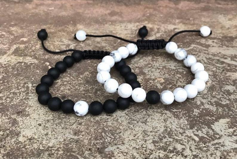 9b07f67e73 ADJUSTABLE Distance Bracelets Set Black & White Matching | Etsy