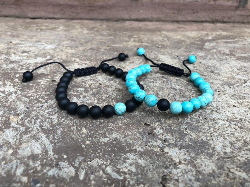 f8e1a7ceb0974 ADJUSTABLE Turquoise Distance Bracelets Set - Turquoise & Black Matching  Pair - Long Distance - For Friendships/relationships/couples