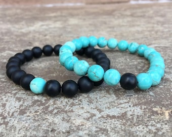 Turquoise Distance/Friendship Bracelets - Turquoise And Black - For Friendships/relationships/couples - His/Hers Long Distance Split Set