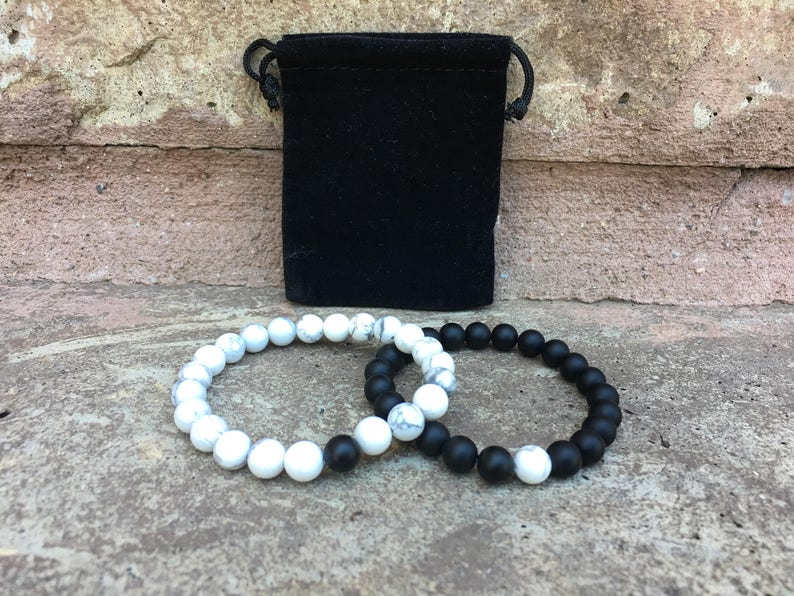 Distance Bracelets  Black And White Matching Pair  Long image 0