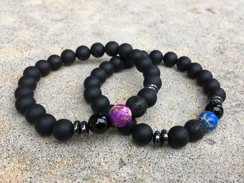 a6ef6bd22e 2 Pc Set Distance Bracelets Blue And Purple Matching Pair | Etsy