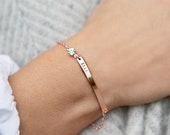 Birthstone and Bar Personalised Bracelet