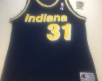 a478a68faa82 Vintage Mens Large Size 44 Navy Blue Indiana Pacers Reggie Miller NBA  Champion Basketball Jersey