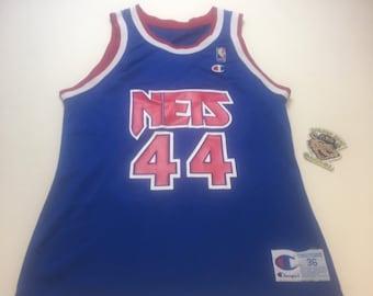 39fa373bdf1 Vintage Mens Small Size 36 Blue New Jersey Nets Derrick Coleman NBA Champion  Basketball Jersey