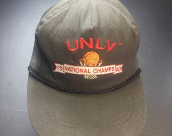 7e58791f559 Vintage 1990 UNLV Running Rebels NCAA Mens College Basketball Champions  Strapback Hat.