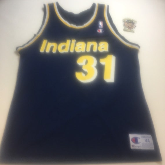 newest fe784 94573 Vintage Mens Large Size 44 Navy Blue Indiana Pacers Reggie Miller NBA  Champion Basketball Jersey