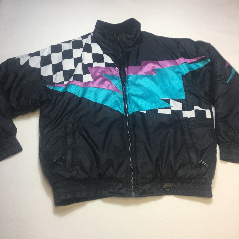 50075e074132 Vintage 80   s Lightning à veste carreaux à motifs de veste à de Ski ...