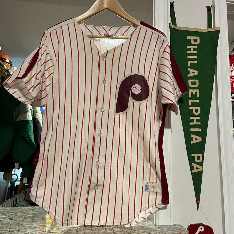 Vintage Rawlings Mens Medium White Pinstriped Philadelphia Phillies Throwback Baseball Jersey
