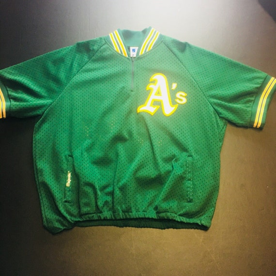 Vintage Majestic Mens XL Green Oakland Athletics Rickey  8d2af8990