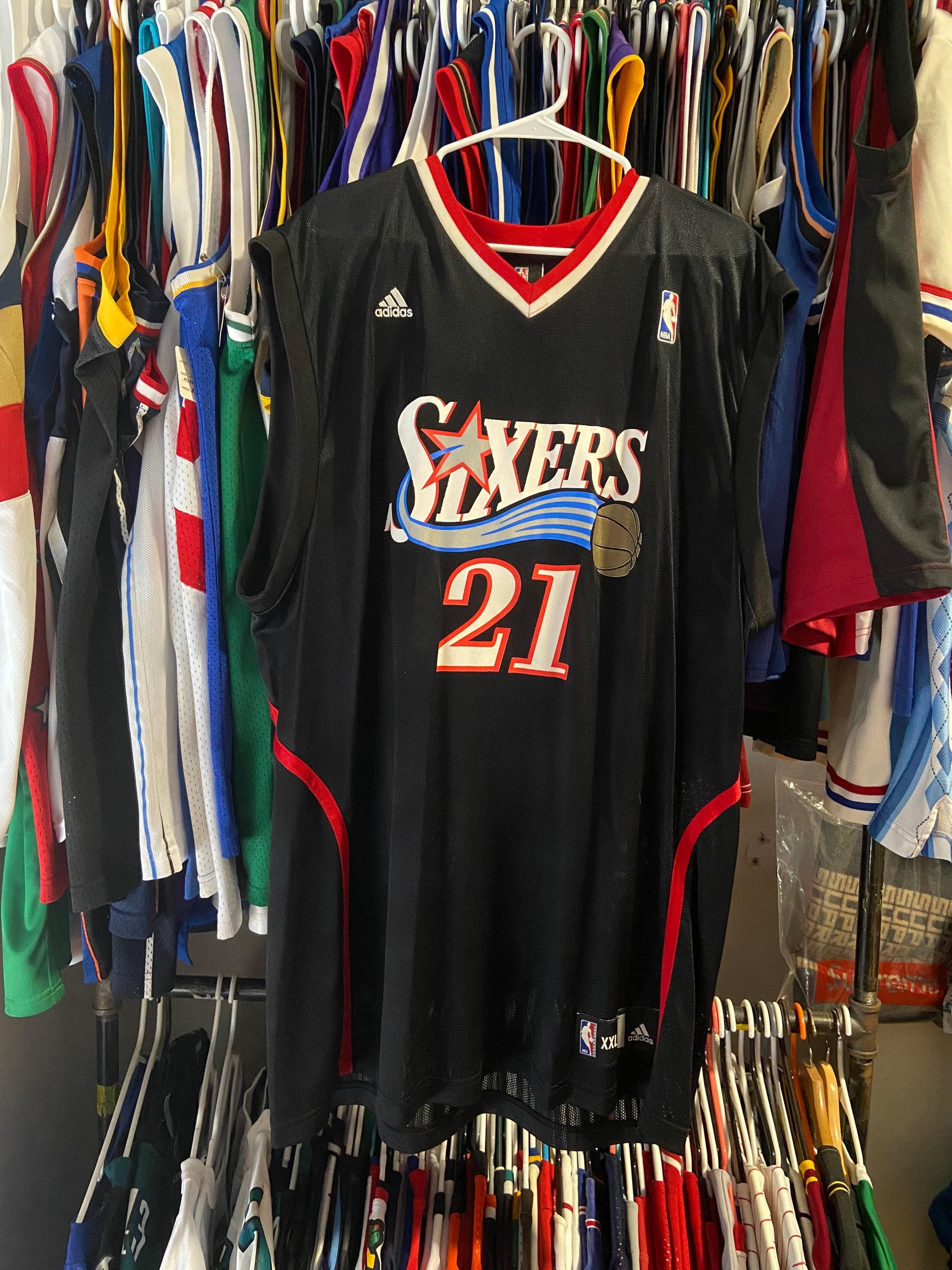 Vintage Adidas Mens XXL Black Philadelphia Sixers Thaddeus Young Throwback Basketball Jersey
