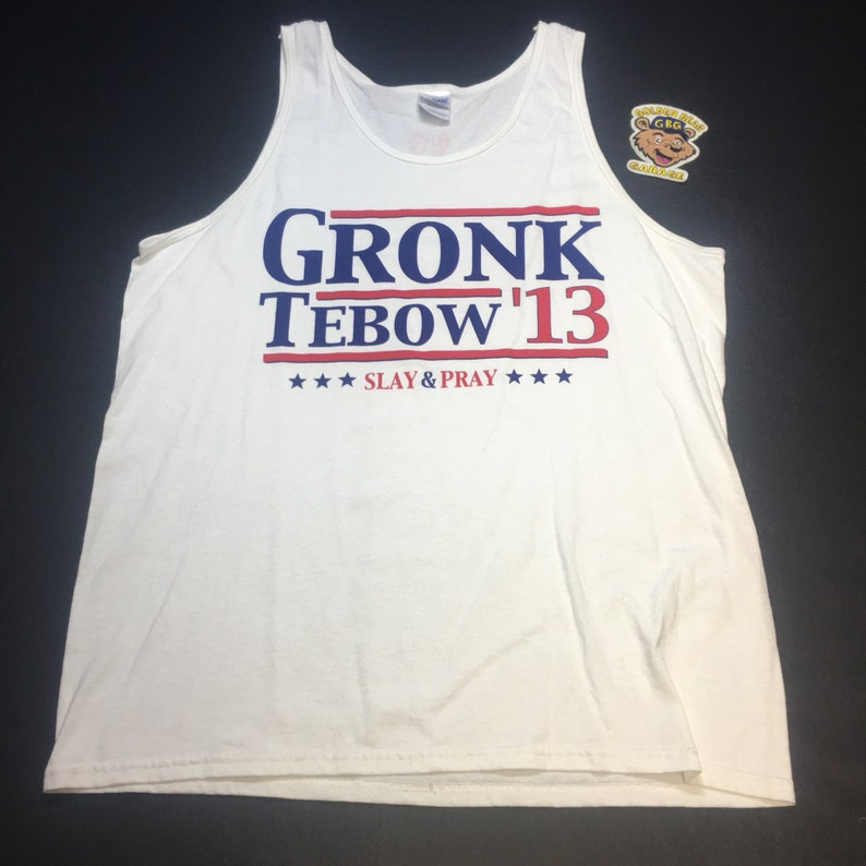 purchase cheap af43f 7c4be Rare Mens Large White New England Patriots Rob Gronkowski and Tim Tebow  Slay & Pray Tanktop.