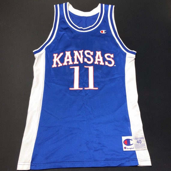 buy online 7c385 38084 Vintage Mens Medium Size 40 Blue Kansas Jayhawks Champion Basketball Jersey