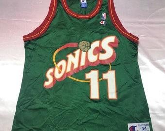 Vintage Mens Large Size 44 Green Seattle Supersonics Detlef Schrempf Champion Basketball Jersey