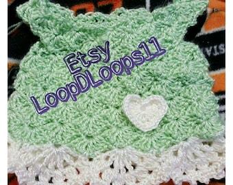 Little girl's crochet dress with heart