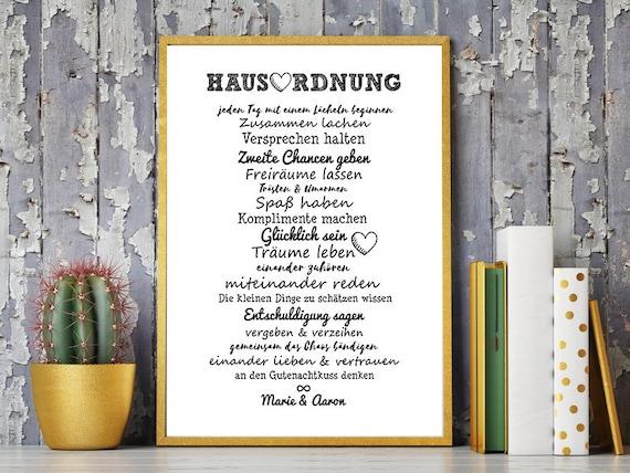 Hausordnung Für Paare Familien Kunstdruck Personalisiert Hochzeitsgeschenk Geschenk Einzug