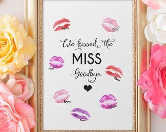 JGA Spiel -Kiss the MISS Goodbye, Gästebuch Poster, Junggesellenabschied- Bachelorette, Gästeposter, Geschenk