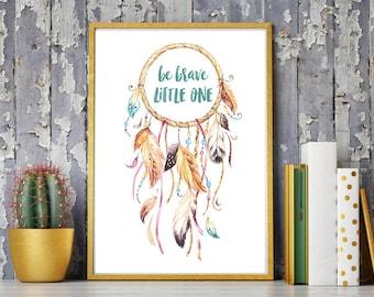 Art print baby & children's dream catcher 'be brave little one' DIN A4