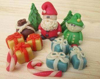 Christmas marzipan 9 3D edible Christmas cake decoration | Etsy