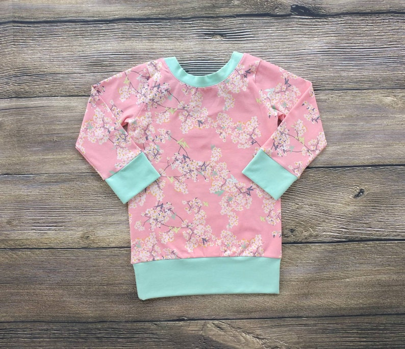 Cherry Blossom Bow Top Baby Shirt Toddler Shirt Girls Shirts image 0