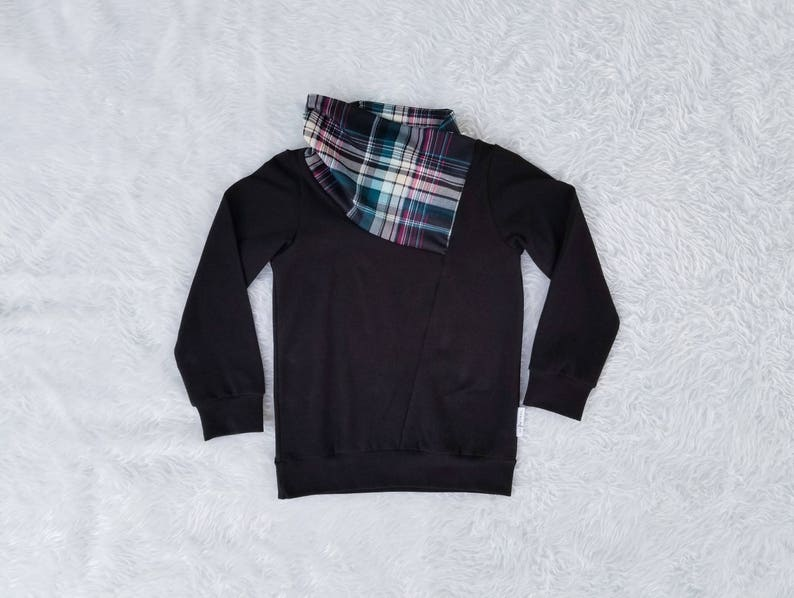 Plaid Cowl Sweater Scarf Neck Sweatshirt Toddler Sweater Baby image 0