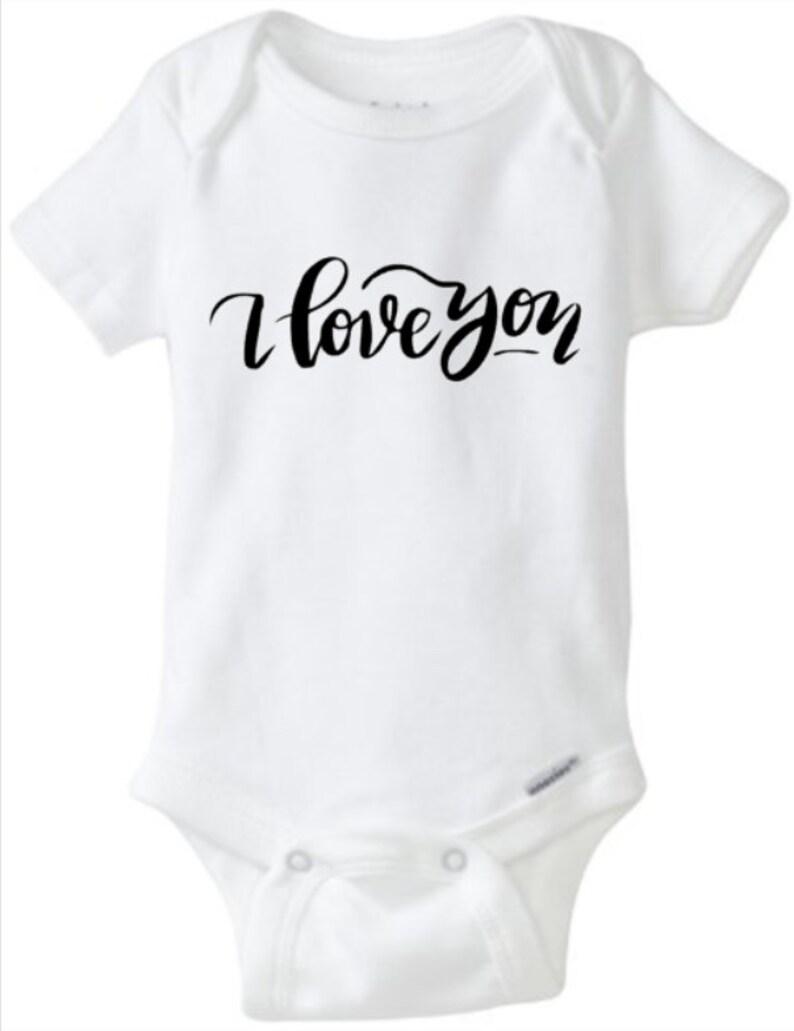 I Love You Glitter Bodysuit Custom Bodysuit Valentines Baby image 0