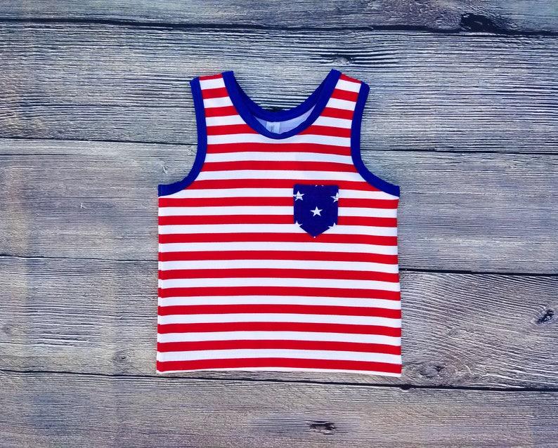 Patriotic Racerback Tank Top Girls Tee Shirt 4th of July image 0