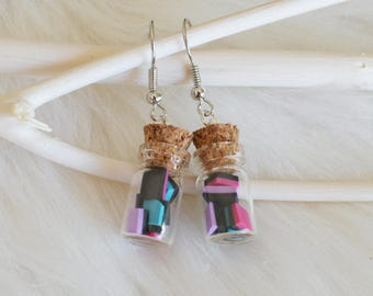 Polymer clay earrings - glass vials with candy - glass vials earrings - candy earrings