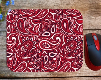 Red Paisley Bandana Mouse Pad