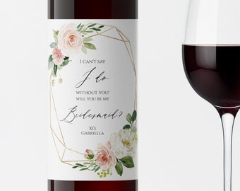 Succulent Bridesmaid Proposal Wine Label Editable Will You Be My Bridesmaid Label With Poem Printable Bridesmaid Wine Label Templett C15