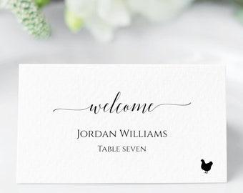 Minimalist INSTANT DOWNLOAD DIY Printable Escort Card Name Card #VAL56 Modern Wedding Place Card Template Editable Digital Download