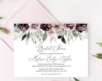Purple And Blush Bridal Shower Invitation Template C29 Fully Editable Printable Bridal Shower Invitation Instant Download Templett